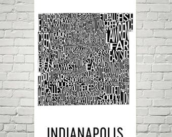 Indianapolis Typography Neighborhood Map Art City Print, Indianapolis Wall Art, Indy Art Poster, Gift, Map of Indianapolis, Indianapolis IN