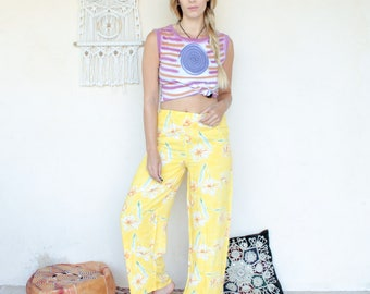 Vintage Floral Yellow Wide Leg Trousers