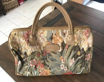 Vintage ADOLFO Floral Travel Bag - Adolfo Carry-on Floral Bag - Floral Small Duffel Bag - Adolfo Travel Bag