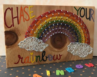 Rainbow String Art & Hand-lettered Wooden Sign - Dreams, Home Decor, Wishes