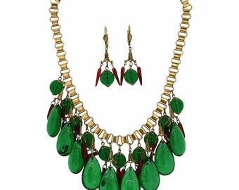 1940s Red and Green Glass Vintage Necklace and Earrings Set