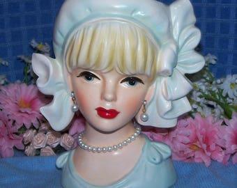 Authentic Japan Rare lg 6 Lady Head vase 1950's Headvase Vintage Flapper Style Cap Bows