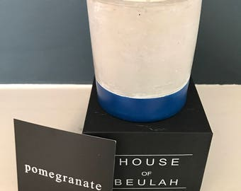 Small Concrete Candle - Pomegranate Scented Soy Wax with Navy blue colour