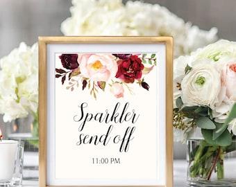 Sparkler Send Off Sign, Sparklers Sign Printable, Wedding Sparkler Send Off, Wedding Sign Printable, Ivory, Burundy, Floral Wedding, #B510