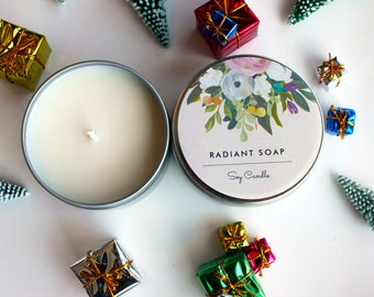 Handmade - Hand Poured - Soy Tin Candle (Various Scents)  - Gift For Her - 8 oz - Soy Candle - Radiant Soap