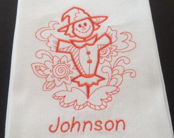 Scarecrow Towel, Dish Towel, Holloween Towel, Fall Dish Towel, Thanksgiving Decor, Thanksgiving Towel, Hostess Gift, Gift for Her, Towel