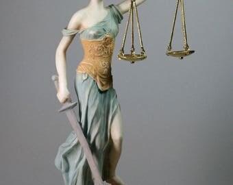 ΤHEMIS Greek Goddess Lady of Justice Justitia Alabaster Statue Sculpture 10.24in - 26cm **Free Shipping & Free tracking Number**