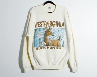 80s Buck Hunter West Virginia Sweatshirt - Vintage Deer Outdoors Mountain Forest Oversized 80s Sweatshirt - Men's XL