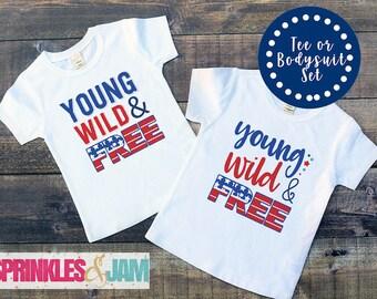 Kids 4th of July Shirt, American Flag, 4th of July Shirt Set, Sibling Shirts, Young Wild And Free, Patriotic Shirt