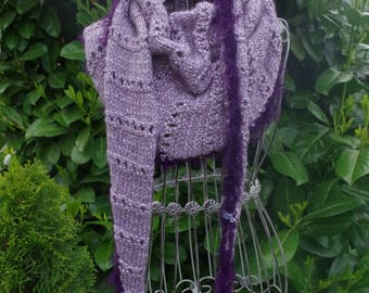 SCARF from alpaca wool in grey lilac