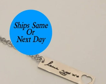 Custom Handwriting, Signature Necklace, Engraved Handwriting, Signature Bar Necklace, Custom Bar Necklace, Gift for Her, Bar Necklace