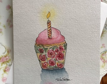 Original Watercolor Birthday Card, Cup Cake and Roses
