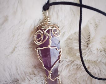 Rose Quartz and Amethyst Pendant Necklace