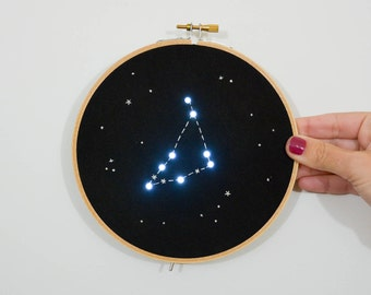 Pre order Capricorn Zodiac Star Constellation Embroidery Hoop Art with LED