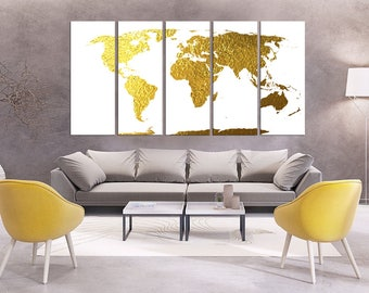 extra large wall art Gold foil World Map Canvas Print world map Wall Art Set world map home decor,  world map gold,  world map print hr48