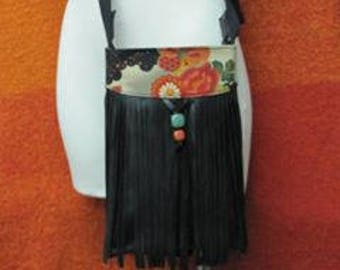 Leather bag with fringes, kimono fabric and semiprecious stones