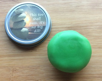 Dill & lemon aromatherapy stress relief dough, fidget, calming, anxiety aid, stress ball, boyfriend gift, funny gift