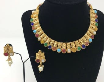 Indian Jewelry Set - Indian Jewellery Set - Indian Bridal Jewelry Set - Pakistani Jewelry Set - Temple Jewelry Set - Bollywood Jewelry Set -