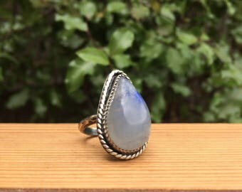 Moonstone Ring / Sterling Silver Ring Size 6 / Large Natural Moonstone Ring / Silver Rainbow Moonstone Ring / Pear Shaped Moonstone Ring
