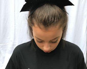Matte Black With Shiny Dots Cheer Bow