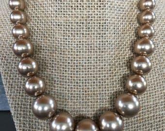 Graduated Bronze Swarovski Pearl Necklace
