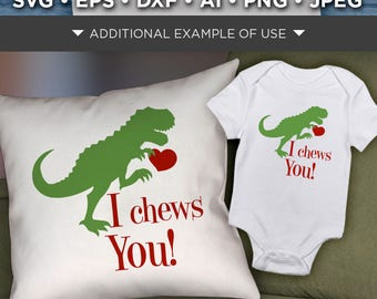 Valentines Day Dinosaur SVG File -  Valentines Dinosaur Svg File - I Chews You - Heart Svg - Dinosaur Shirt Svg - Valentine Dinosaur - 1522