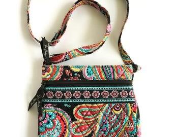 Bohemian Vera Bradley Cross Body Bag, Purse, Paisley Print, Multicolored