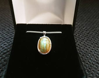 Labradorite Gemstone Solid Sterling Silver Necklace