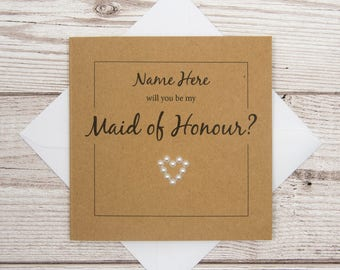 Maid Of Honour Card, PERSONALISED Will you be my Maid Of Honour Wedding Card, 4x4 Brown Card, Wedding Invitation Card, Maid Of Honor Card