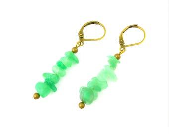 Green Aventurine Earrings - Green Stone Chip Earrings - Gemstone Earrings - Green Brass Stone Earrings - Brass Aventurine Chip Earrings