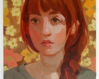 "Portrait of a Girl with Brown Floral -  Original oil painting // Oil Paint on Duralar- 9"" x 7"""