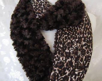 Faux Fur Collar - Dark Brown Scarf - Animal Print Scarf - Brown Infinity Scarf - Brown Fur Collar - Brown Infinity Scarf -Faux Fur Scarf