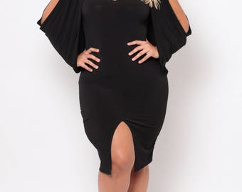 Plus Size Cold Shoulder Grecian Dress - Black - Sizes 0X - 4X