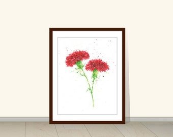 Carnation Watercolor Print, Red Flower Print, Watercolor Print, Watercolor Flower Print, Florals, Watercolor Carnation Print, Art Wall Decor