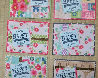 pack of 6 handmade birthday cards, greeting cards, happy birthday cards