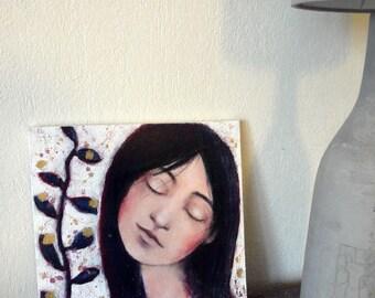 "Contemporary art, dream, plant, painting ""Songe 5"" 25 x 25 cm"