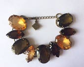 Vintage 1980s Signed EB Erickson Beamon Luxury Fashion Designer Gold Topaz Amber Brown Olive Green Crystal Bracelet