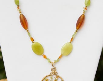 Amber, Citrine & Peridot Yggdrasil Necklace - Yggdrasil - Tree of Life - Amber - Citrine - Peridot - Tree - Wirewrap Tree - Norse - Viking