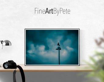 Blue Cloudy sky print, Purple wall art prints, minimalist home decor poster