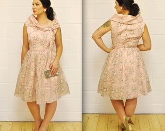 1950's/60's Pink Floral Organza Garden Party Dress / Prom / Fit and Flare / Mad Men / Rare Collectible Retro