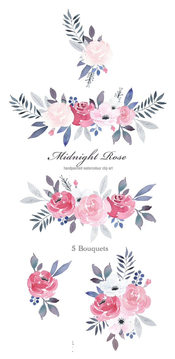 Watercolor Floral Clipart Midnight Rose winter rose blue