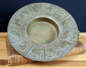 Vintage Brass Chinese Zodiac Ashtray / Trinket Dish / Coin Dish / Candle Holder