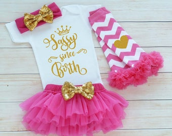 Sassy Since Birth Shirt, Baby Girl Coming Home Outfit, Worth The Wait Bodysuit, Baby Coming Home Outfit, Baby Shower Gift, Infant Outfit