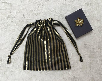 smallbags veil with black and gold stripes - reusable bags - zero waste