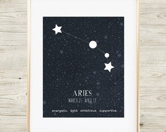 Aries Constellation Print, Printable Art Print, Aries Zodiac Sign, Zodiac Art, Aries Star Map, Aries Print, Aries Poster, Aries Zodiac Art
