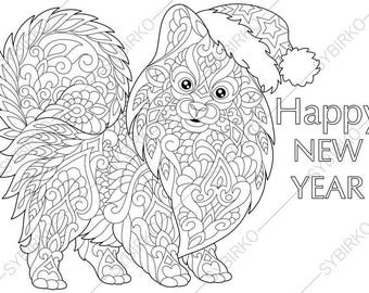 Adult Coloring Page Dachshund Dog Zentangle Doodle Coloring