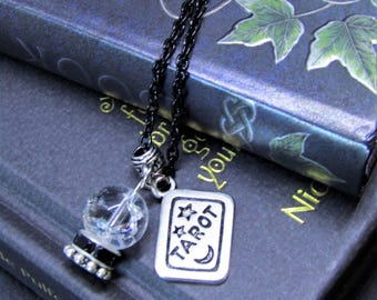 Crystal Ball and Tarot Necklace, Clairvoyant necklace, Cartomancy, Crystal Ball Necklace, Tarot card necklace, Divination, Tarot