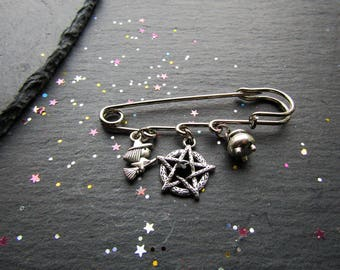 Witch, Cauldron and Pentacle Brooch, Witch Brooch, Pagan Brooch, Wiccan Brooch, Wicca, Witch Jewellery, Pentacle Jewelry, Pentacle Brooch