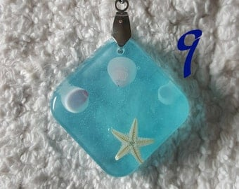Diamond Starfish and Seashell Resin Pendant | Seaside Series
