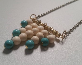 Wood and Turquoise Necklace